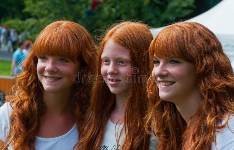 Retrato de três meninas redheaded imagem de stock royalty free