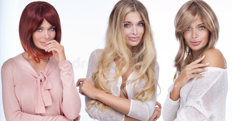 Retrato de três mulheres atrativas fotografia de stock royalty free