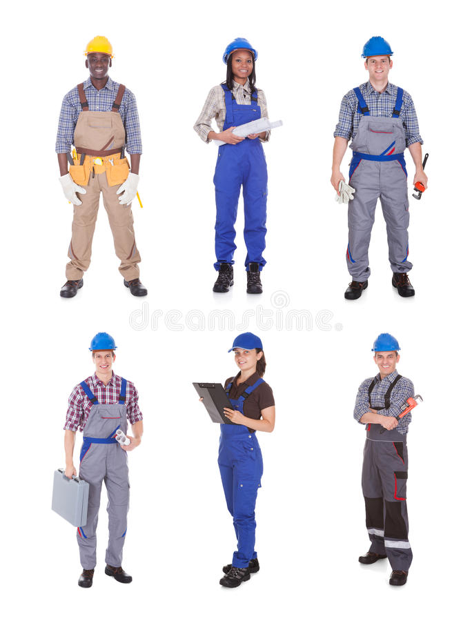 Retrato de trabalhadores manuais seguros imagem de stock royalty free