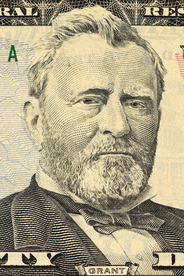 Retrato de Ulysses S Grant enfrenta em dólares do macro da conta dos E.U. cinqüênta ou 50 fotos de stock royalty free