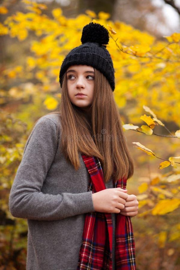 Retrato de um adolescente bonito com cores outonais no b imagem de stock royalty free