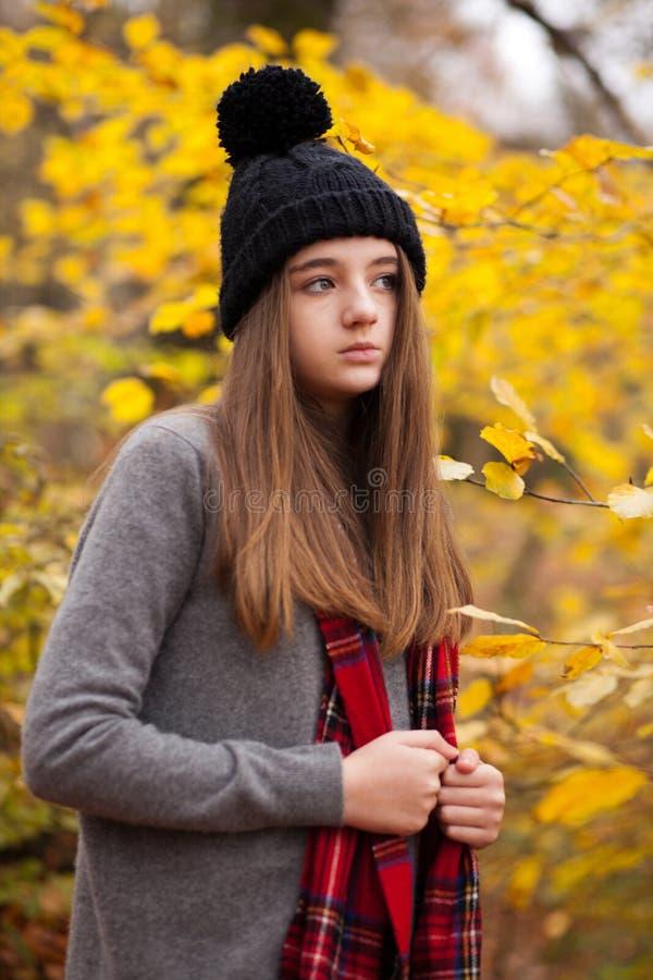 Retrato de um adolescente bonito com cores outonais no b foto de stock