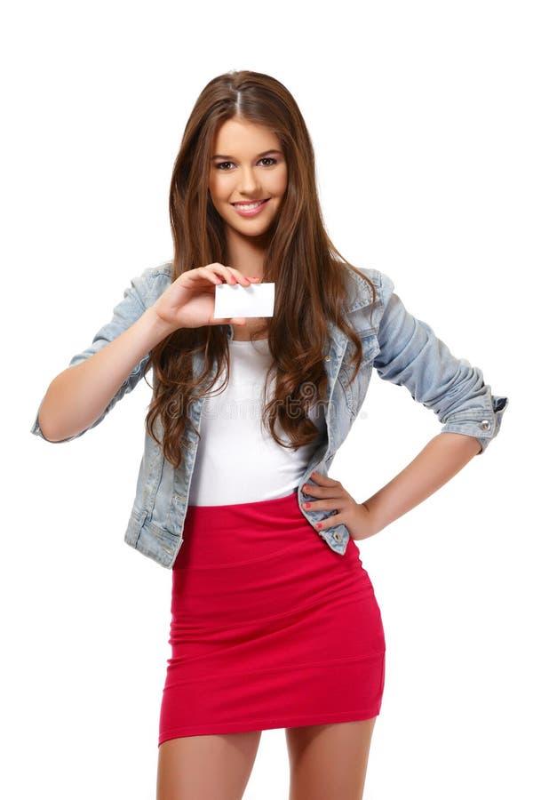 Retrato de um adolescente do suporte de cartão fotos de stock royalty free
