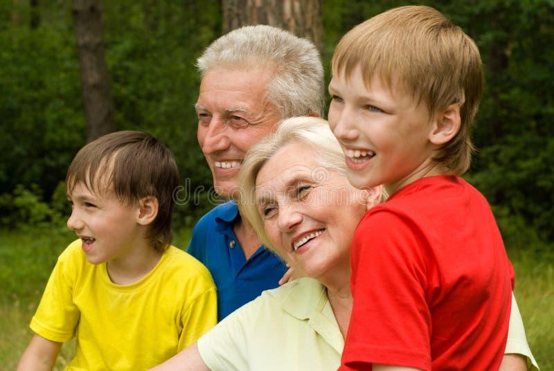 Retrato de um agregado familiar com quatro membros feliz fotos de stock royalty free