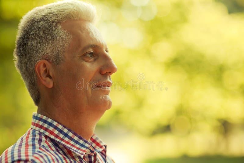 Retrato de um ancião maduro feliz de sorriso em sh ocasional na moda foto de stock royalty free