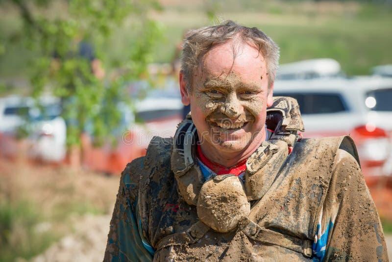 Retrato de um atleta após a raça fotografia de stock royalty free