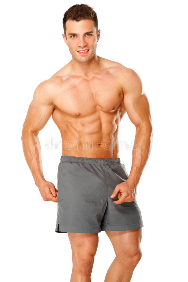 Retrato de um atleta masculino muscular no branco imagens de stock royalty free