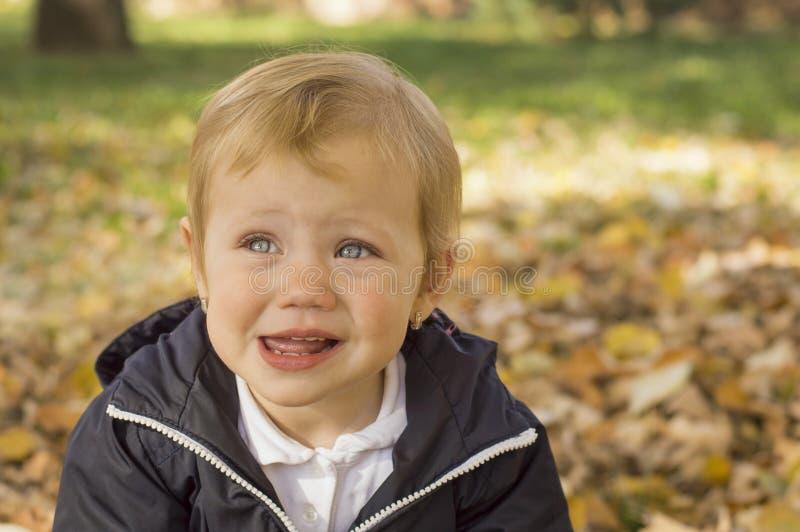 Retrato de um bebê doce do bebê de um ano em um parque fotografia de stock