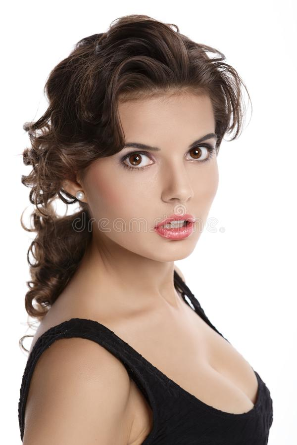 Retrato de um Brunette bonito foto de stock royalty free