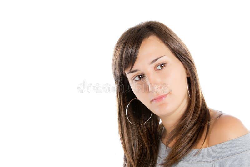 Retrato de um brunette bonito fotos de stock