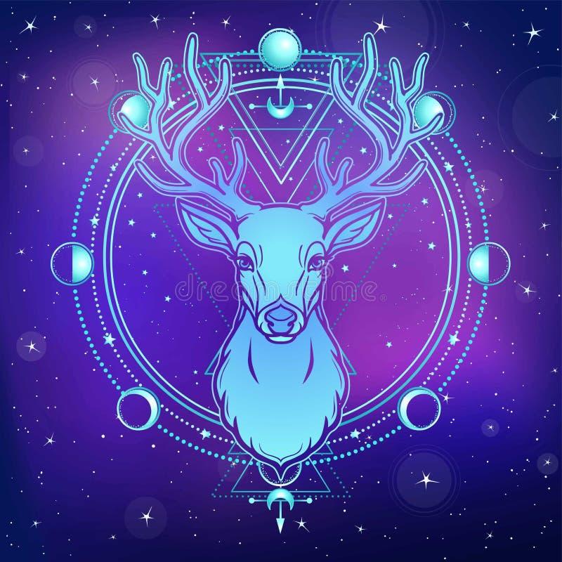 Retrato de um cervo horned - espírito da animação da madeira Deidade pagão ilustração royalty free