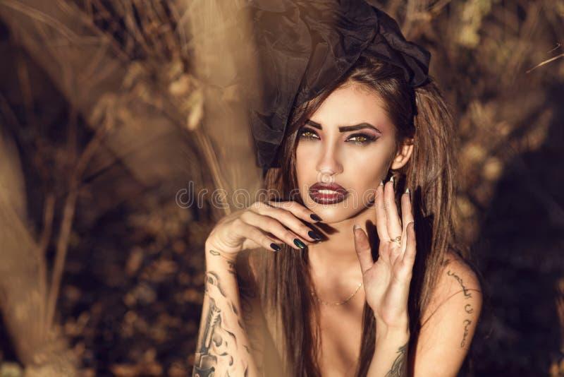 Retrato de um chapéu de seda vestindo tattooed perigoso fino do vintage da bruxa que senta-se nas madeiras e que sussurra um perí foto de stock