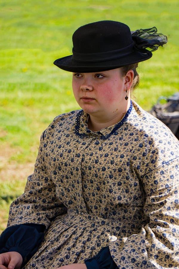 Retrato de um confederado fêmea Reenactor imagem de stock royalty free