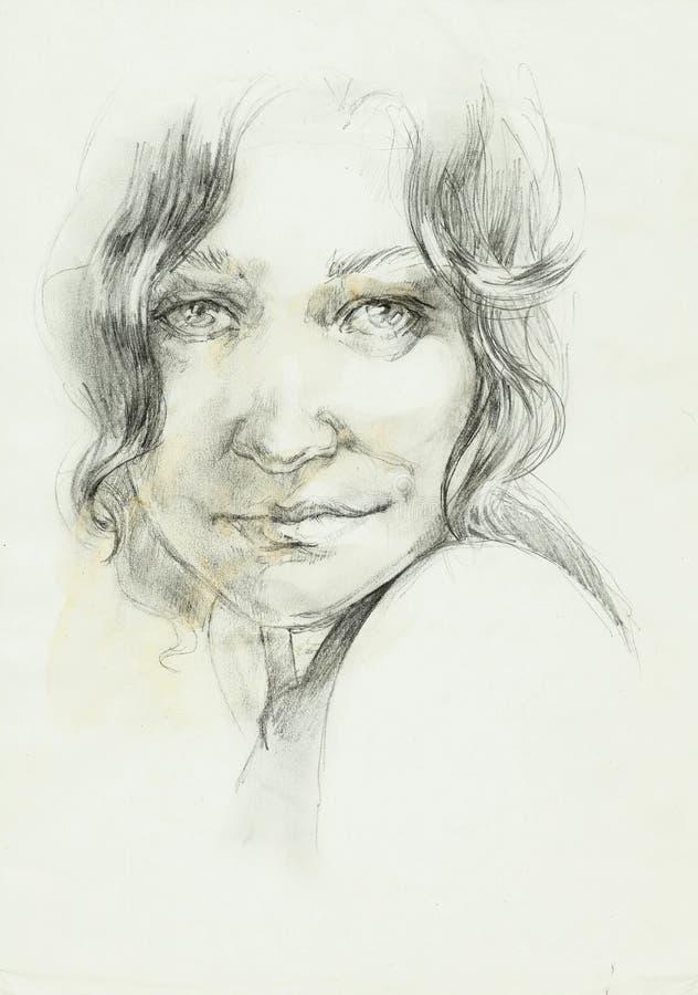 Retrato de um desenho de lápis encaracolado da mulher do beutifull ilustração do vetor