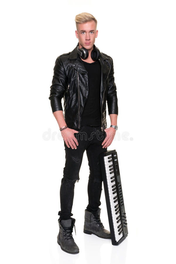 Retrato de um DJ novo fotografia de stock royalty free