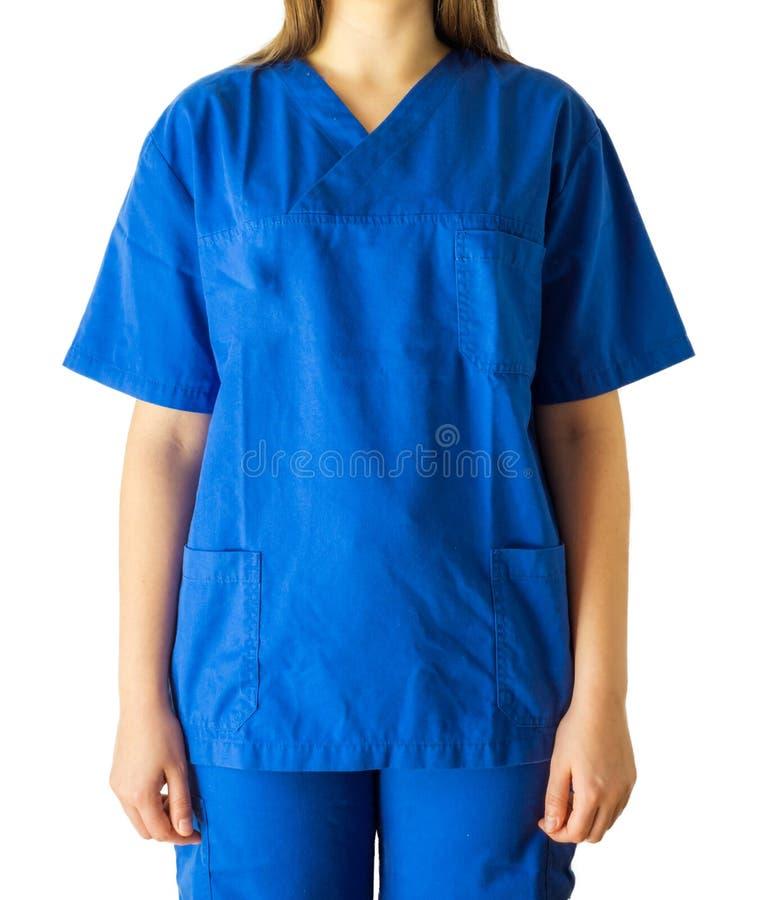 Retrato de um doutor ou de uma enfermeira nova desconhecida em médico azul uni fotografia de stock royalty free