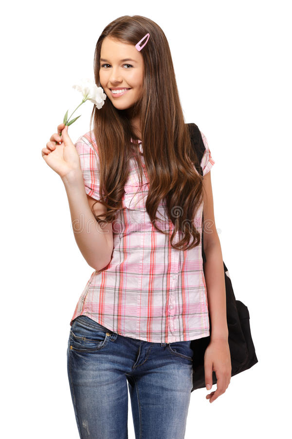 Retrato de um estudante feliz com flor fotos de stock royalty free