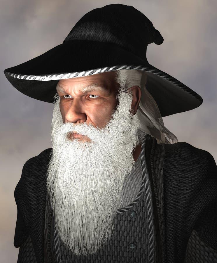 Retrato de um feiticeiro ilustração royalty free