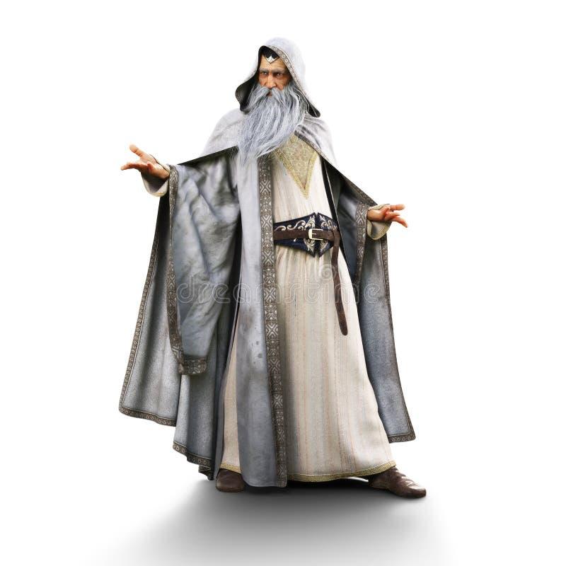Retrato de um feiticeiro que prepara-se para moldar um período em um fundo branco isolado ilustração stock