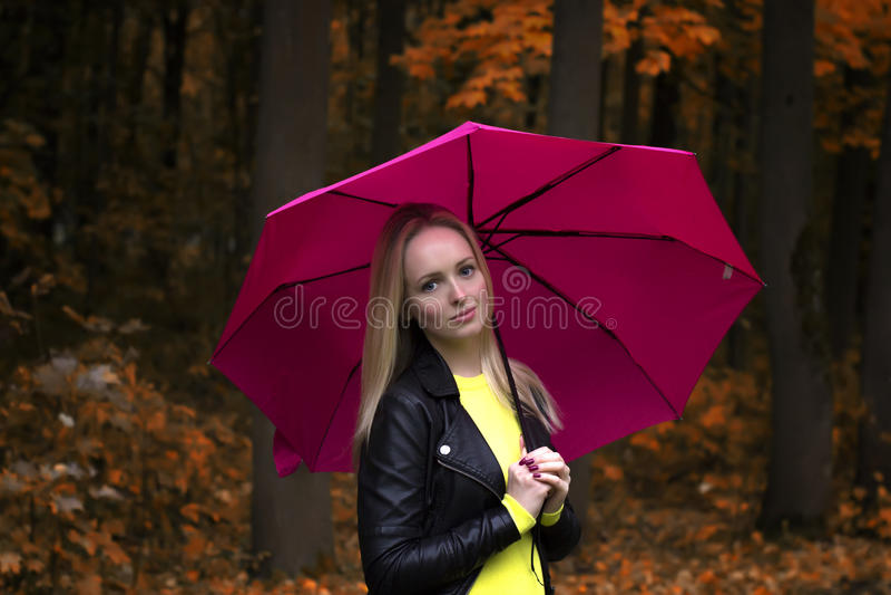 Retrato de um fim bonito novo da menina acima sob o guarda-chuva cor-de-rosa no tempo chuvoso do outono no parque imagens de stock