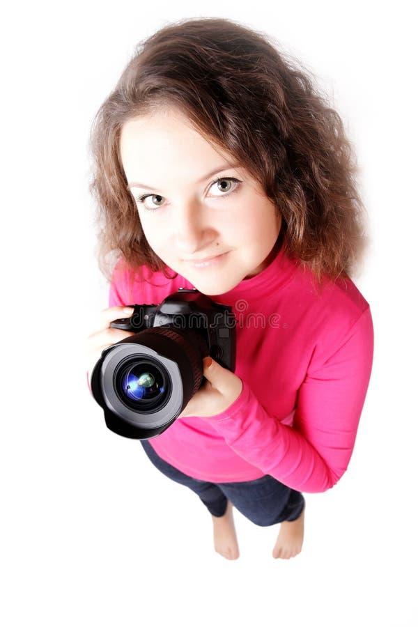 Retrato de um fotógrafo bonito da menina isolado imagens de stock