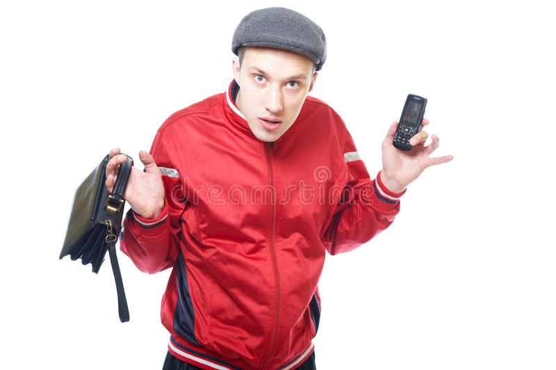 Retrato de um gangster novo imagem de stock