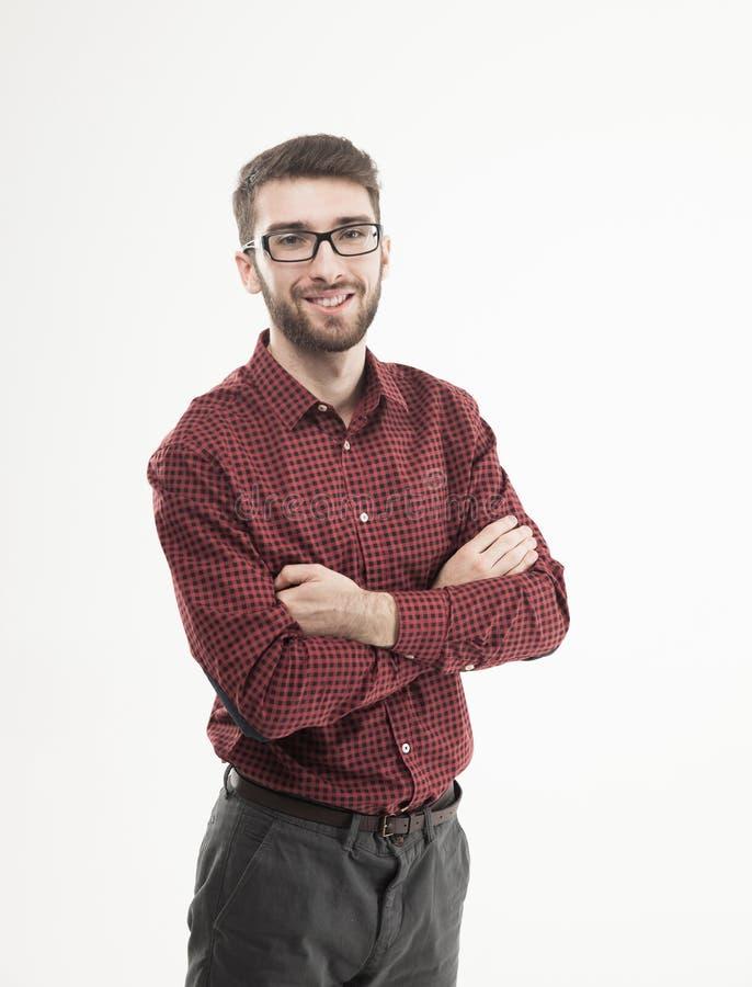 Retrato de um gerente bem sucedido no fundo branco imagem de stock