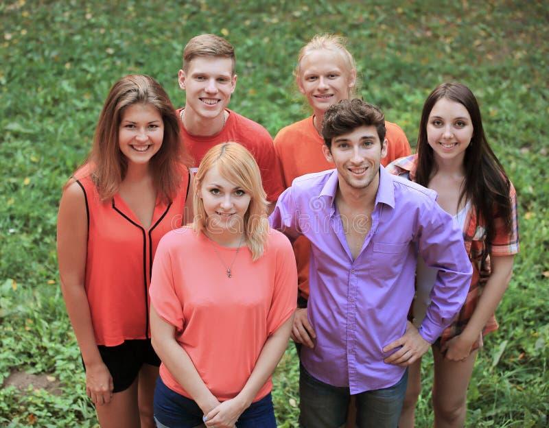 Retrato de um grupo de jovens bem sucedidos em um gramado verde foto de stock