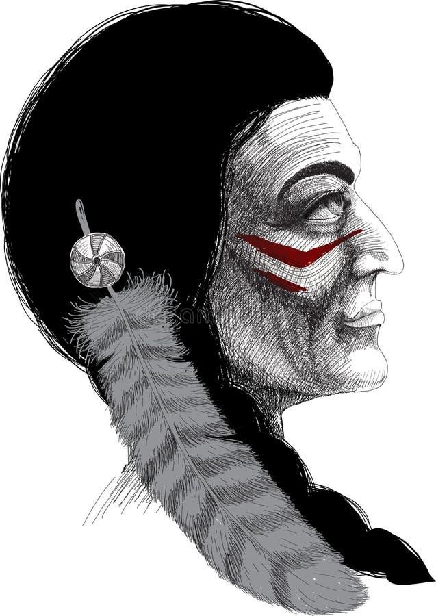 Retrato de um guerreiro indiano ilustração stock