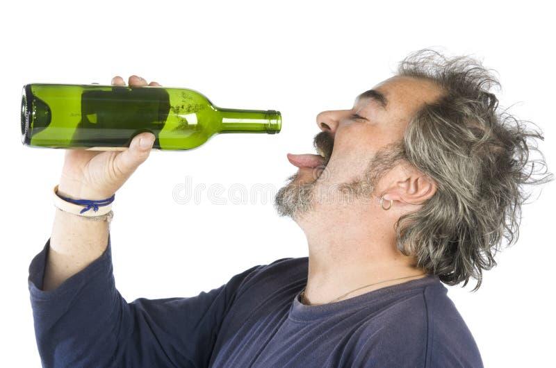 Retrato de um homem bêbedo fotografia de stock