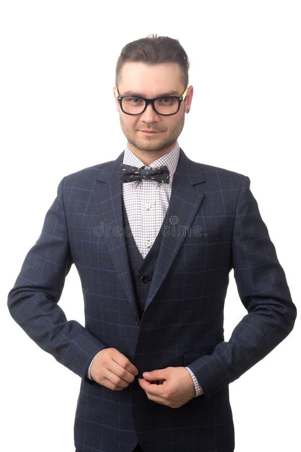 Retrato de um homem de negócios bem sucedido novo isolado no branco imagem de stock royalty free