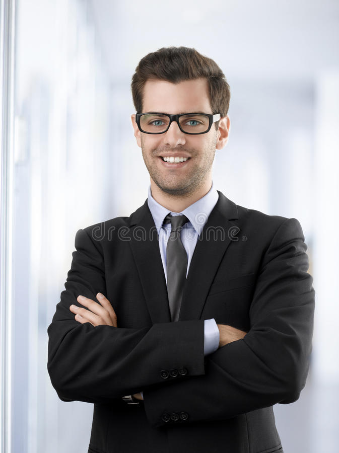 Retrato de um homem de negócios feliz imagem de stock royalty free