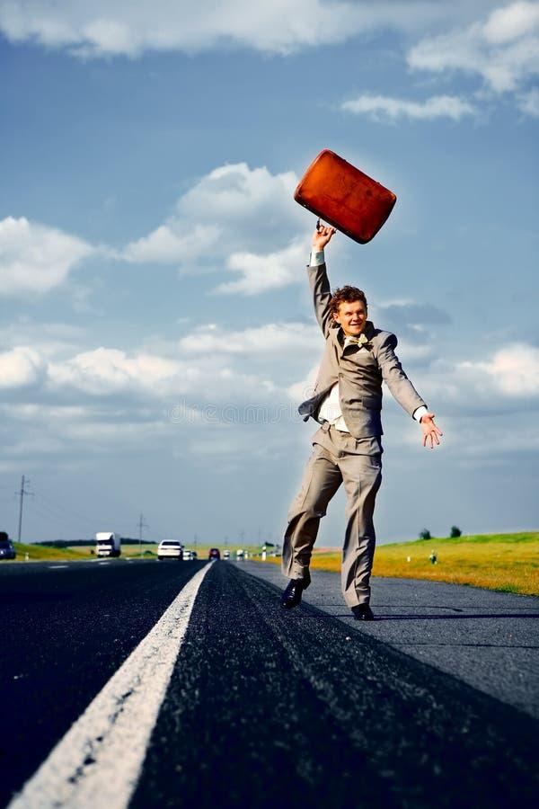 Retrato de um homem de negócios feliz foto de stock