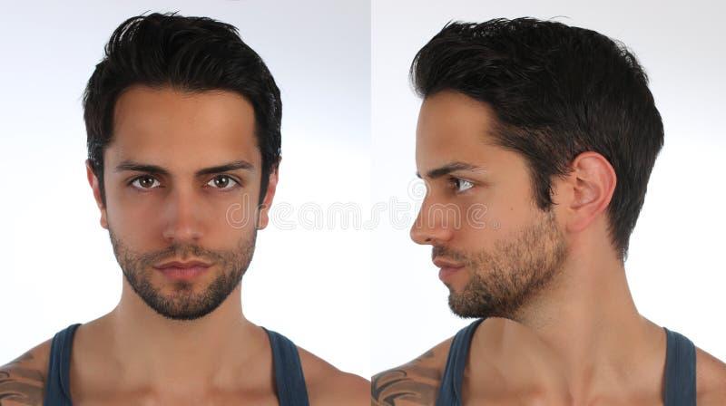 Retrato de um homem, de um perfil e de uma cara consideráveis Criação de um caráter 3D virtual ou de um avatar foto de stock