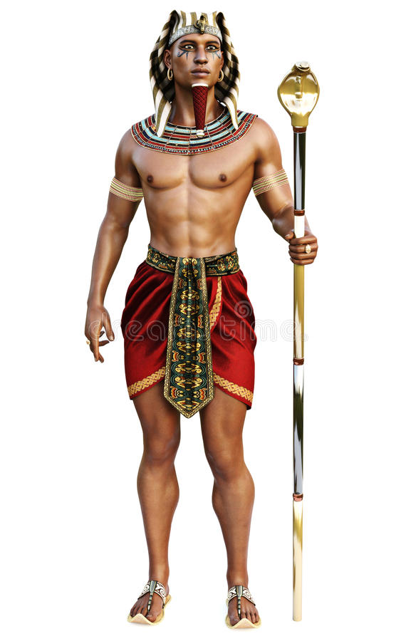 Retrato de um homem egípcio que veste o equipamento tradicional em um fundo branco isolado ilustração royalty free