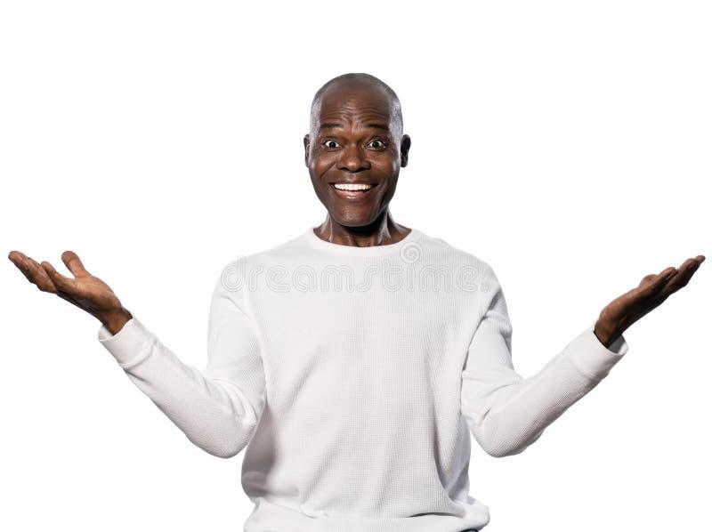 Retrato de um homem maduro excited fotos de stock royalty free
