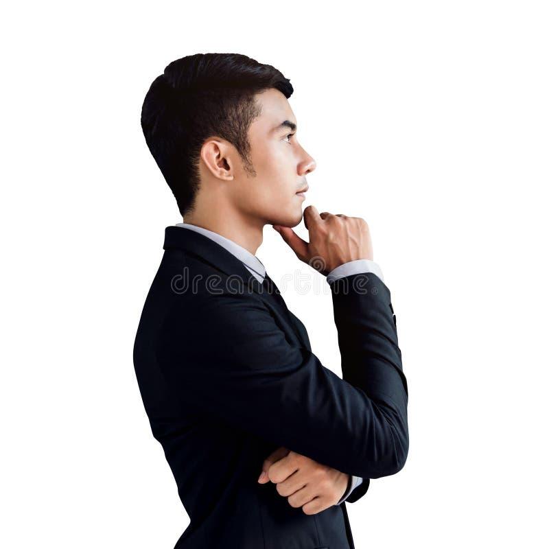 Retrato de um homem de negócios asiático considerável seguro, ha da vista lateral fotografia de stock royalty free