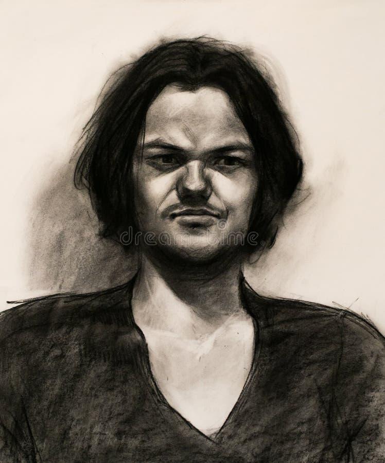 Retrato de um homem novo em preto e branco foto de stock royalty free
