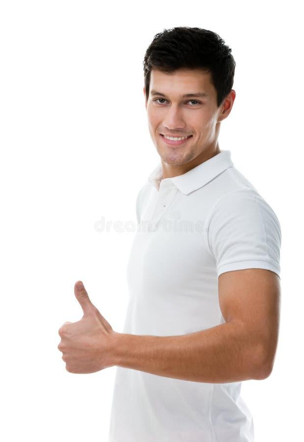 Retrato de um homem sportive que manuseia acima imagens de stock
