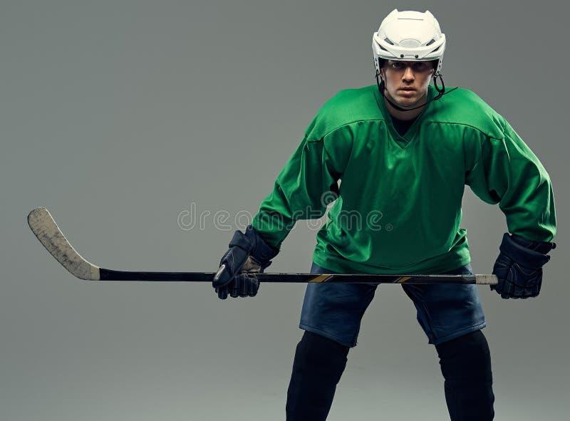 Retrato de um jogador de hóquei profissional que veste a engrenagem completa e uma vara de hóquei em um fundo cinzento imagem de stock