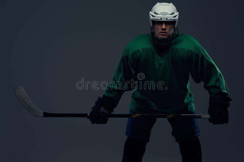 Retrato de um jogador de hóquei profissional que veste a engrenagem completa e uma vara de hóquei em um fundo cinzento foto de stock