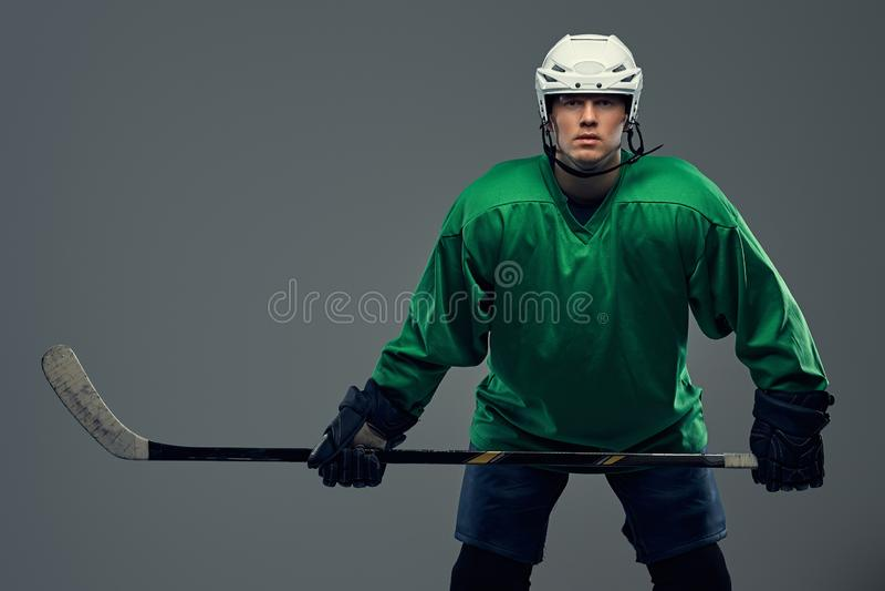 Retrato de um jogador de hóquei profissional que veste a engrenagem completa e uma vara de hóquei em um fundo cinzento imagens de stock royalty free
