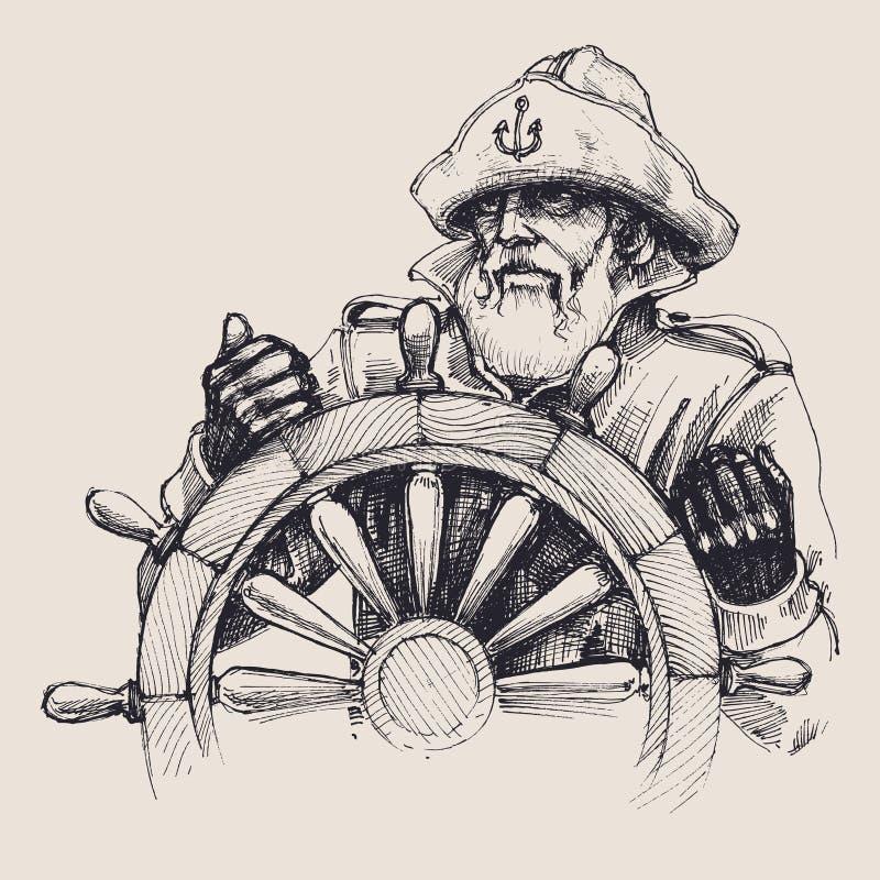 Retrato de um marinheiro ilustração do vetor