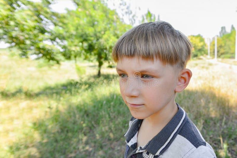 Retrato de um menino na natureza em um close-up largo da lente do ângulo, o pensativo e o sério da criança imagens de stock