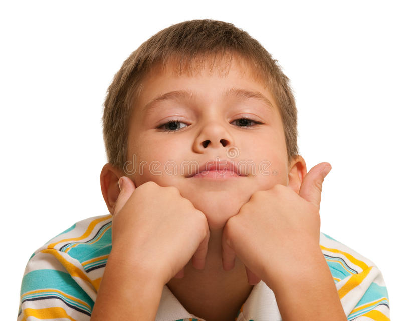 Retrato de um menino pensativo imagem de stock royalty free
