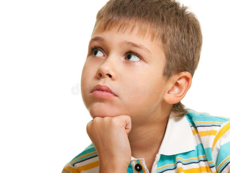 Retrato de um menino pensativo fotografia de stock royalty free