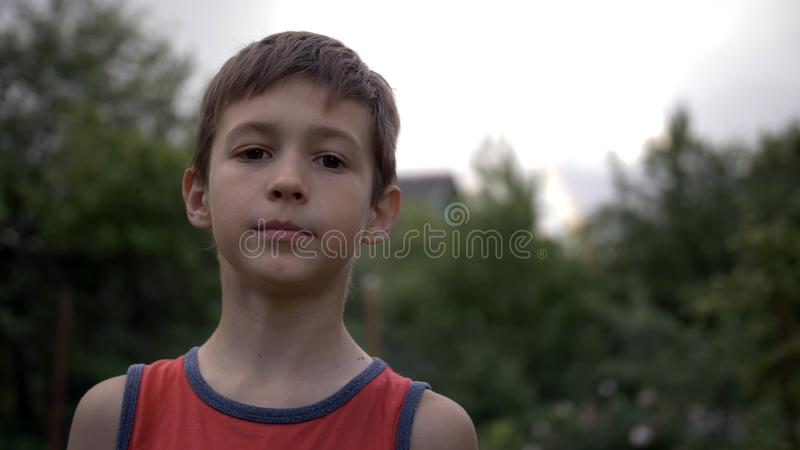 Retrato de um menino que olha a câmera na natureza imagens de stock