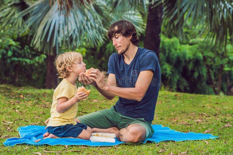 Retrato de um pai novo e de seu filho que apreciam um Hamburger em um parque e em um sorriso imagens de stock royalty free