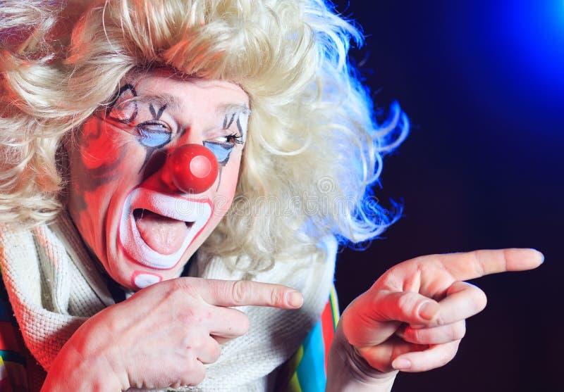 Retrato de um palhaço na arena do circo imagens de stock
