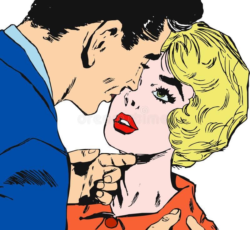 Retrato de um par amantes ilustração stock